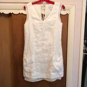 Kenar white linen dress